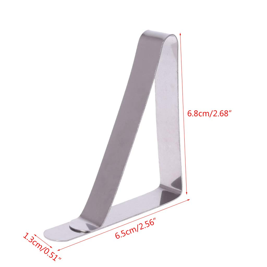 1 pack of 4 triangle large mouth stainless steel tablecloth clip tablecloth clip table skirt clip YoungerY 6.8 * 6.5cm