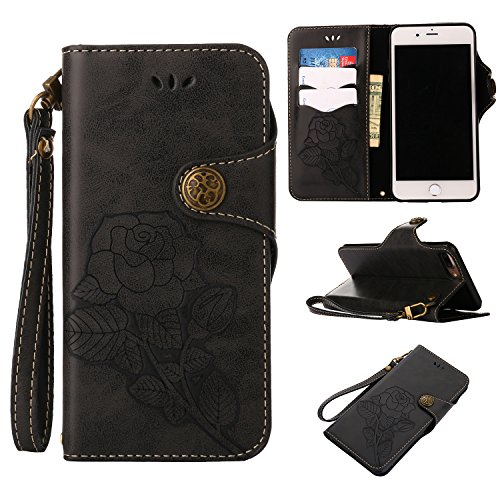Black Friday Deals 2017 iPhone 8Plus Wallet Case,iPhone 7Plus Leather Case,Valentoria 2 in 1 Book in Italian Style 3 Card Holder Cash Slot KickStand Function Slim Lightweight Case Cover (Black)