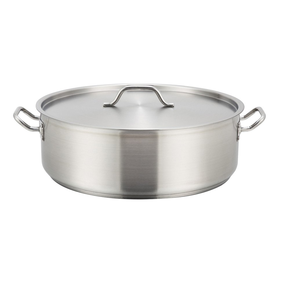 Winco SSLB-15, 15-Quart Stainless Steel Brazier Pan With Cover by Winco
