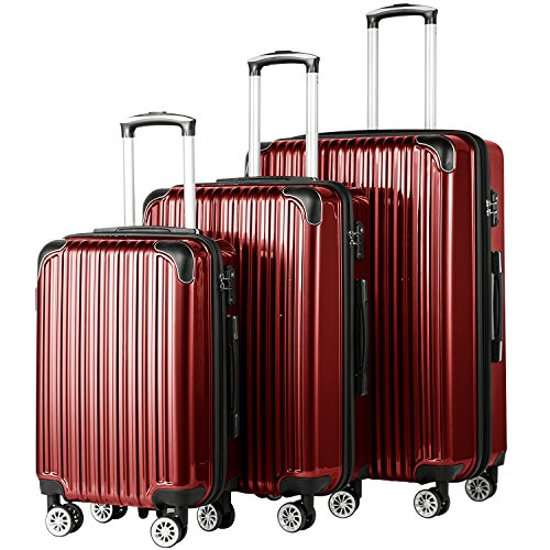 (Coolife Luggage Expandable 3 Piece Sets PC+ABS Spinner Suitcase 20 inch 24 inch 28 inch (wine red))
