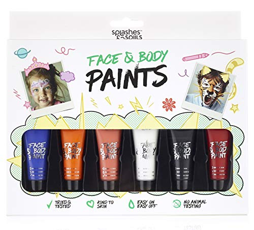 Splashes & Spills Non-UV Children's Face and Body Paint - Costume, Halloween and Party Makeup - Safe for All Skin Types - Easy On and Off