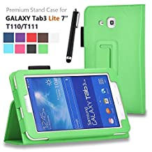 Asstar Galaxy Tab E Lite 7.0 Case, Premium Premium Folio Leather Case Cover for Samsung Galaxy Tab 3 Lite 7.0 SM-T110 / T111 7.0 Inch Android Tablet, Bundle with stylus touch pen (Green)