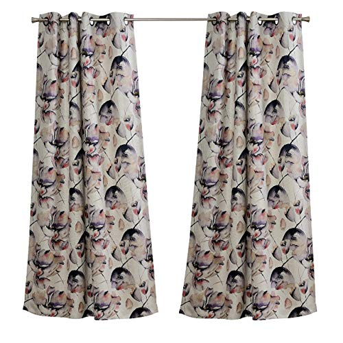 MYSKY HOME Tulip Fashion Design Print Thermal Insulated Soft Faux Linen Room Darkening Curtains, 52 x 95 Inch, Purple and Red, 1 Panel