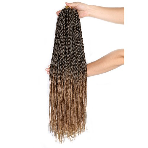 "(8 Packs) 22"" Senegalese Twist Crochet Braids (T1B/27) Rope Twist 30 Strands Small Havana Twist"
