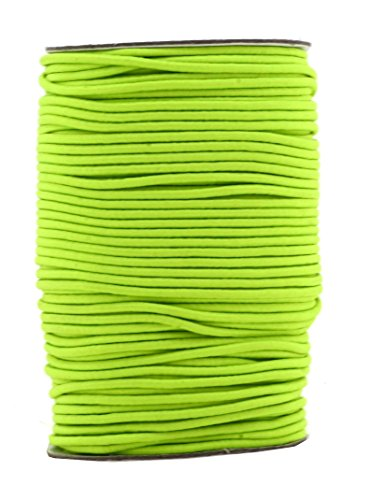 Lime Green String - Mandala Crafts 2mm 76 Yards Fabric Elastic Cord, Round Rubber Stretch String for Journals, Beading, Jewelry Making, Masks, DIY Crafting (Lime Green)