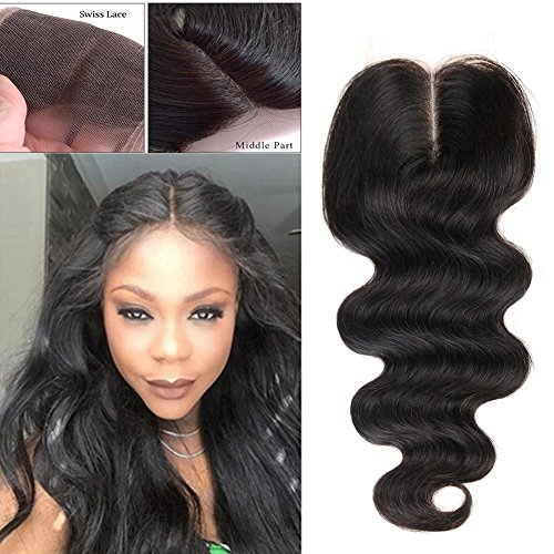 Flady Body Wave Lace Closure Hair Unprocessed Brazilian Virgin Human Hair Lace Closure Middle Part (16inch closure middle part) (Invisible Part Body Wave compare prices)