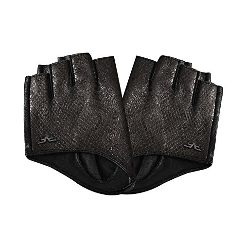 Fioretto Womens Driving Leather Gloves Fingerless Fashion Genuine Pearl Snake Leather Gloves with Metal Logo Half Finger Leather Gloves Unlined Cosplay Tassel Black 8.5]()