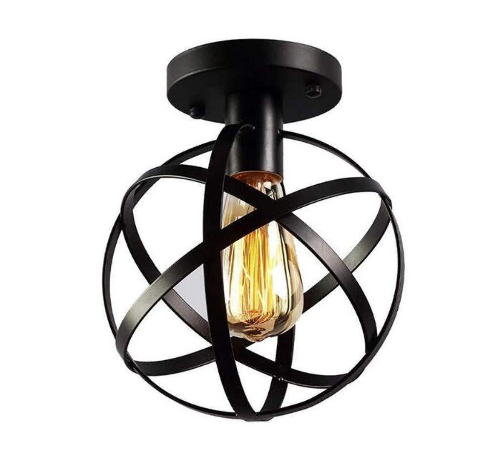 Kronleuchter E27 Vintage Light Wandleuchte Led Lichtmodernes Kugel-Design Mit 1 Flammen E27 Deckenleuchte Deckenleuchte Deckenleuchte Küchenleuchte Eisenrahmen Lampe Ø 20 Cm Schwarz Lackiert