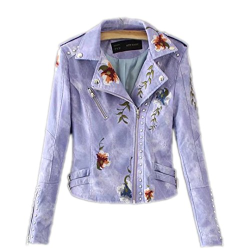 WAZDpuyer Women's Floral Embroidered Faux Leather Moto Jacket Coat Violet XL - Embroidered Suede Leather Coat