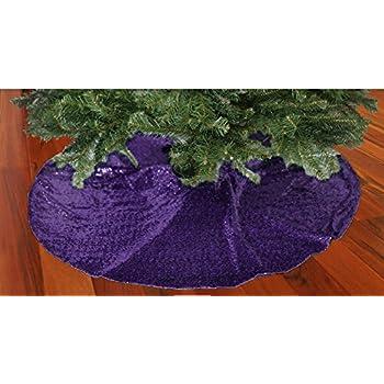ShinyBeauty 48-Inch Embroidery Sequin Christmas Tree Skirt, Purple - Amazon.com: Lavender Purple Snow Flake EmblishedPattern Round Tree