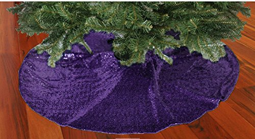 ShinyBeauty-Embroidery Sequin Christmas Tree Skirt, Purple