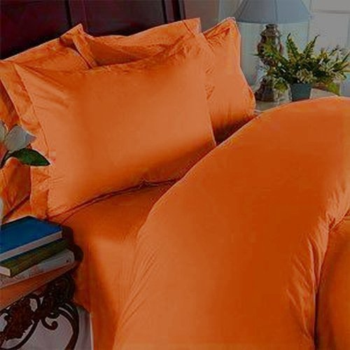 "4 pcs Bed Sheet Set, Deep Pocket Up to 16"" - California King, Elite Orange"