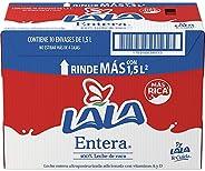 Lala Leche UHT Entera con Tapa, 1.5 L, 10 Piezas