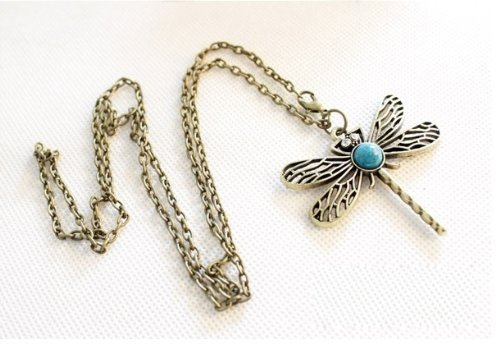 (lucky Classic Vintage Sapphire Paved Bronze Hollow Wings Dragonfly Pendant Long Chain Necklace-Antique)