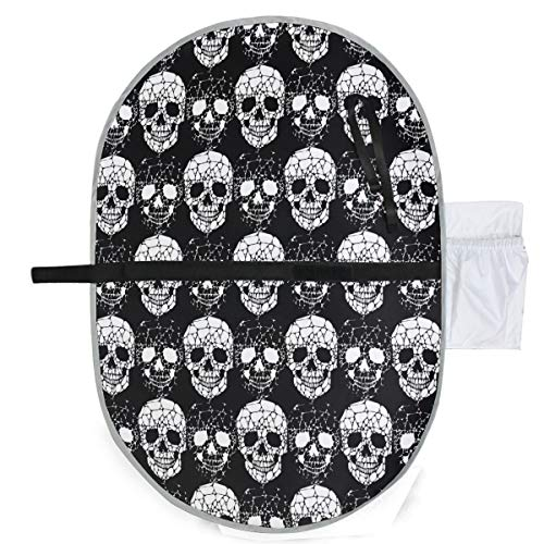 Gothic Skull Waterproof Baby Changing Pad, Portable Diaper Changing Pad, Diaper Bag Mat, Foldable Travel Changing Station | Stroller Strap,Side Pocket for Wipes Diaper| for Infants & Newborns