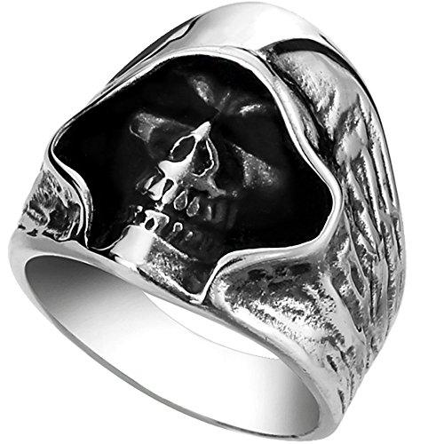 Men's Large Vintage Biker Gothic Casted Death Grim Reaper Skull Stainless Steel Punk Ring Silver Black Size 12