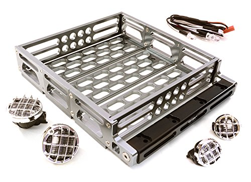 Integy RC Model Hop-ups C26899GUN Realistic 1/10 Scale Alloy Luggage Tray 125x106x24mm with 4 LED Spot Light Set