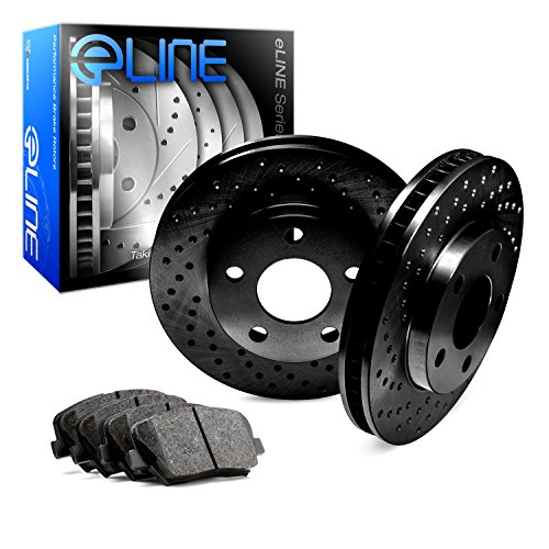 2010-2015 Chevrolet Camaro Front Black Drilled Brake Disc Rotors & Ceramic - Chevrolet Front Camaro Pads Brake