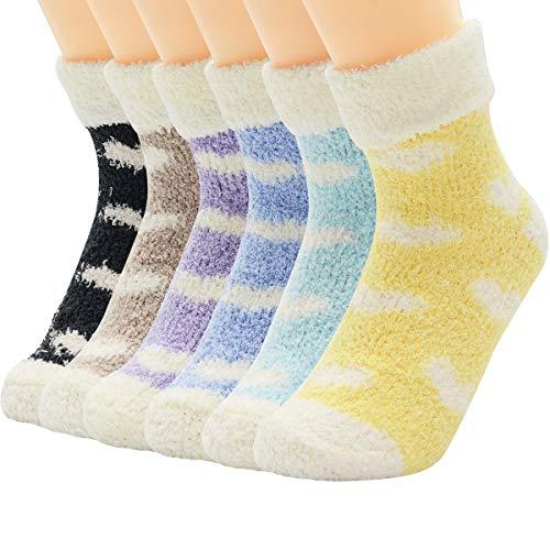 Zando Women 5 or 6 Pairs Super Soft Warm Fuzzy Socks Winter Fluffy Sock Cozy Home Slipper Sock Microfiber Sleeping Sock
