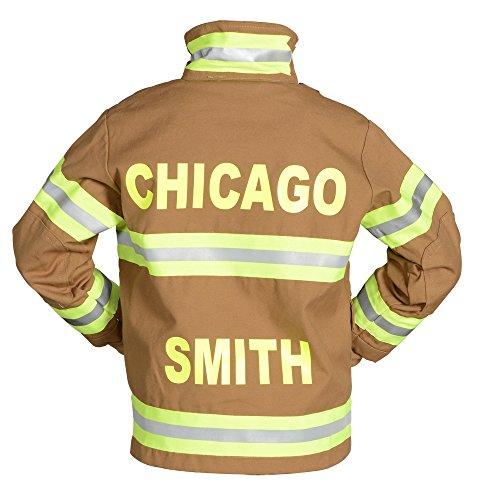 Aeromax Personalized Jr. Firefighter Suit/Bunker Gear, Black or TAN, (12/14, Tan)