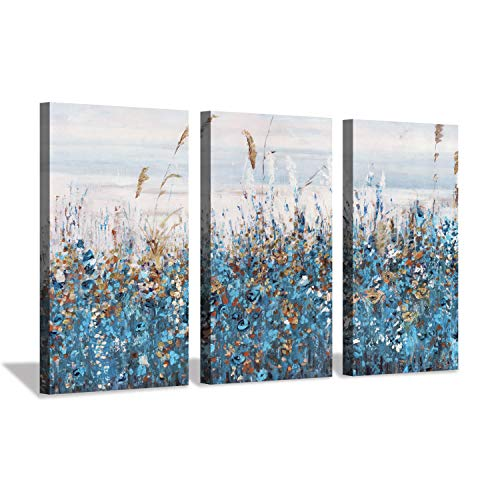 Abstract Scenery Artwork Floral Painting: Blue Flowers and Bushes in Summer Meadow Oil Painting Print on Canvas for House Wall Arts