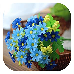 Memoirs- 7 branch/28 Heads Artificial Cute Beauty Daisy Silk Flower Bouquet Wedding Flowers Home Decoration Fake Flores Artificiales,Blue 54