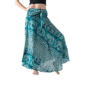 Bangkokpants Women's Long Maxi Bohemian Hippie Skirt Boho Dresses Elephant One Size Asymmetric Hem Design
