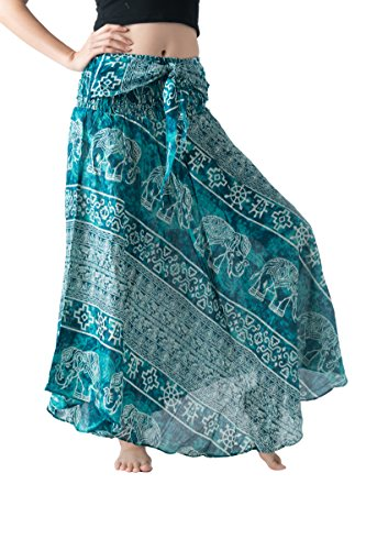 Bangkokpants Women's Long Bohemian Hippie Skirt Boho Dresses Gypsy Clothes Elephant One Size Asymmetric Hem Design (Ancient Elephant Green, One Size)
