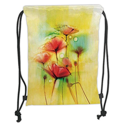 Poppies Modern Printed (Custom Printed Drawstring Sack Backpacks Bags,Watercolor Flower Home Decor,Poppy Flowers Motif in Tones Spring Inspired Modern Picture,Yellow Red Soft Satin,5 Liter Capacity,Adjustable String Closure,)