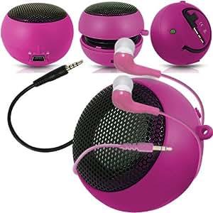 Online-Gadgets UK - Huawei Ascend P6 Cápsula Viajes recargable altavoces de graves en voz alta de 3,5 mm Jack Jack de entrada y en auriculares del oído - Rosa