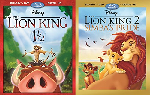 Disney Lion Double Pack Blu-Ray + DVD Set 1 1/2 Lion King & Part 2 Simba's Pride