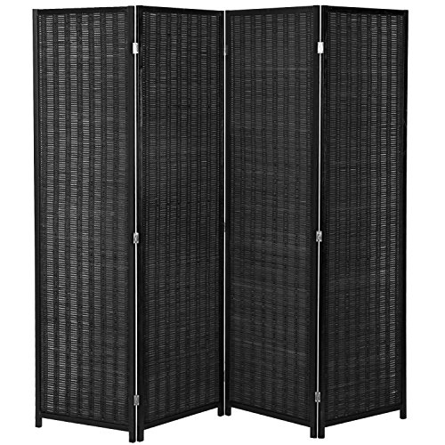 (MyGift 4-Panel Woven Bamboo Folding Room Divider, Free Standing Portable Privacy Screen, Black)