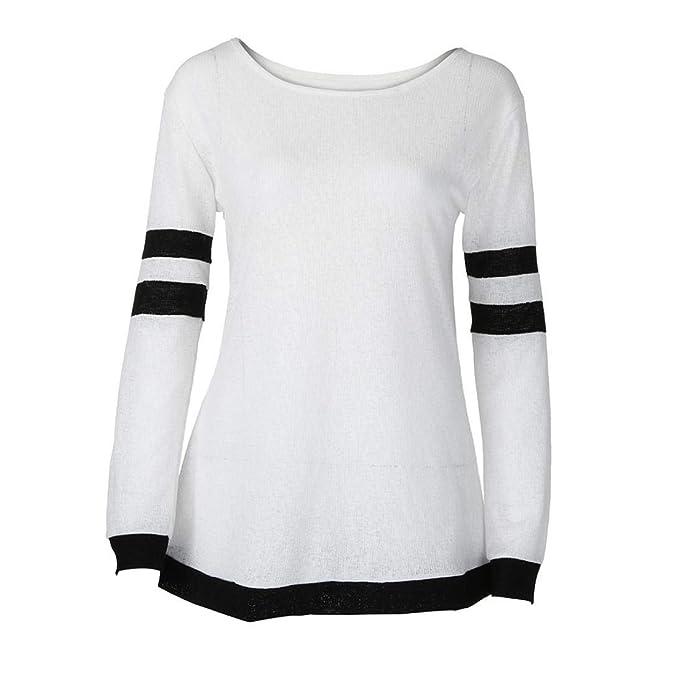 Damen Sweatshirt Elegant Langarmshirt Oberteile Langarm T-Shirt Top Tunika  Pulli, Casual Streifen Druck aa99db0eb5