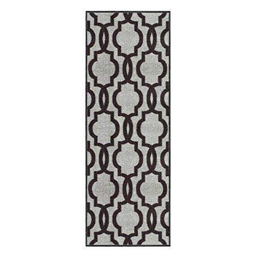 custom size grey moroccan trellis rubber backed nonslip hallway stair runner rug 22in x 10ft