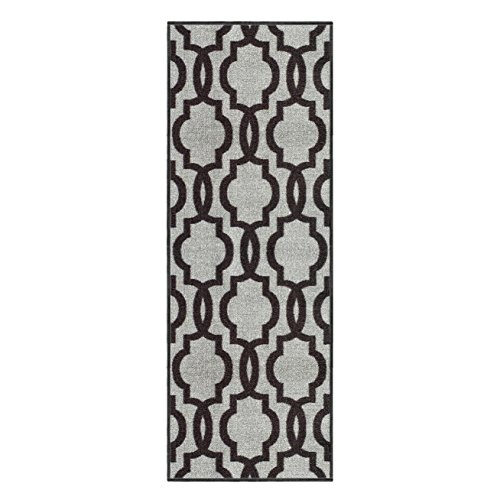 Custom Size Grey Moroccan Trellis Rubber Backed Non-Slip Hallway Stair Runner Rug 22in X 7ft