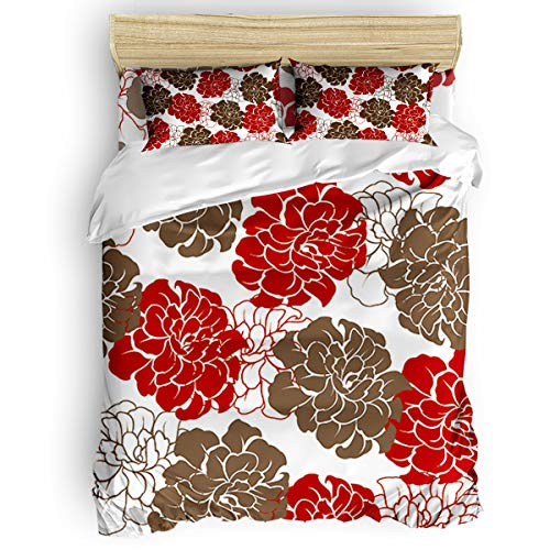 (vnurhfmvn Duvet Cover Set Printed 4 Pcs Bedding Set King Size Include Duvet Cover, Bed Sheet, Pillow Shams Peony Flower Pattern Soft Quilt Sets for Children/Adults)