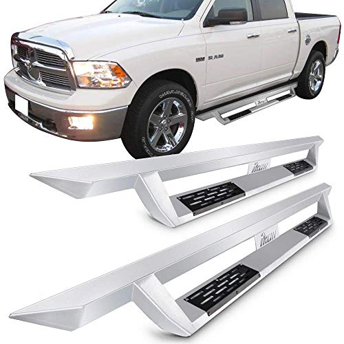 Running Boards Fits 2009-2015 Dodge Ram 1500 & 10-15 Dodge Ram 2500 3500 Crew Cab | IKON V1 Style Silver Steel Side Step Bar Nerf Bar by IKON MOTORSPORTS | 2010 2011 2012 2013 2014 2015 2016 2017
