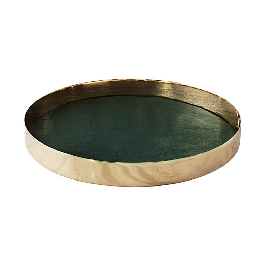 PuTwo Jewellery Tray Metal & PU Leather Trinket Dish Vintage Vanity Tray Handmade Catchall Tray Trinket Tray Dresser Bathroom Vanity Table Gift for Birthday Christmas - Gold & Hunter Green