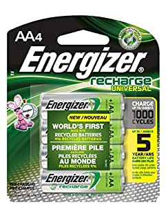 Energizer Recharge Universal 2000 mAh Rechargeable AA Batteries, Pre-Charged, 4 count