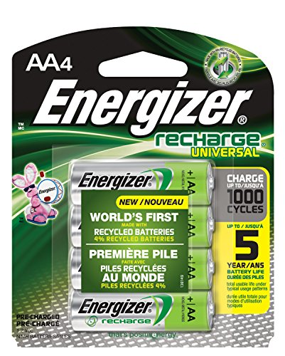 Energizer Rechargeable AA Batteries, NiMH, 2000 mAh, Pre-Charged, 4 count (Recharge Universal)]()