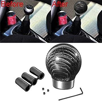 Carbon Fiber Ball Car Manual Gear Shift Knob Cover Handle Stick Shifter Lever