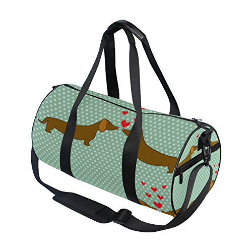Use4 Retro Polka Dots Dachshund Dog Travel Duffel Bag, used for sale  Delivered anywhere in USA