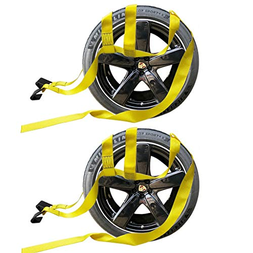 2X Car Basket Straps Adjustable Tow Dolly DEMCO Wheel Net Set Flat Hook Yellow Noa Store