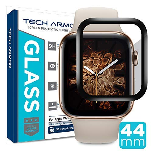 Tech Armor 3D Curved Edge Glass Screen Protector Designed for Apple Watch Series 4 44mm (Black) [1-Pack] by Tech Armor
