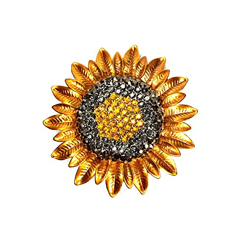 (DREAMLANDSALES Metallic Petal Micro Pave Crystal Golden Sunflower Brooches Pins (Sunflower))