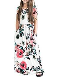 Girl Dresses Floral Print Crew Neck Short Sleeve Empire Waist Maxi Dress