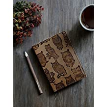 Leather Journal Travel Diary Owl Designed Personal Organizer Planner Notebook with Eco-friendly Handmade 96 Pages Office Paper Supplies – 7 X 5 Inches (Brown)