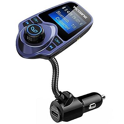 VicTsing Bluetooth FM Transmitter 1.44 Inch Display TF Card Slot by VicTsing