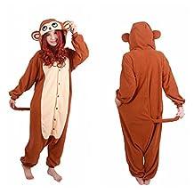WOTOGOLD Animal Cosplay Costume Costume Monkey Unisex Adult Pajamas Brown