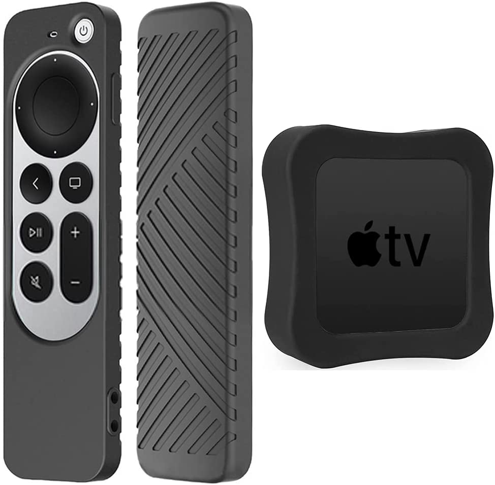 [1+1 Pack] LYWHL for Apple TV 4K 2021 Siri Remote Control Case with Apple TV 4K Case, Silicone Anti-Slip Shockproof Full Body Protective Cover for Apple TV 4K 2021 - Black